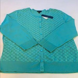 Talbots mint green soft light cardigan